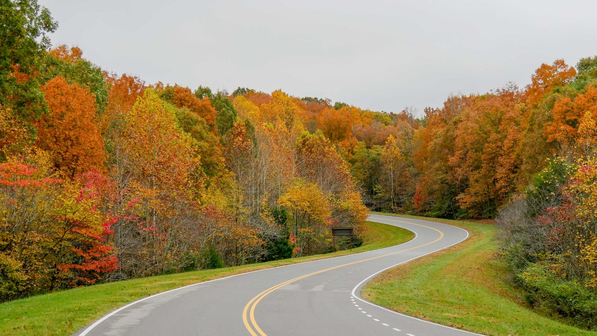 Fall colors along the Natchez Trace Parkway in Tennessee 2019