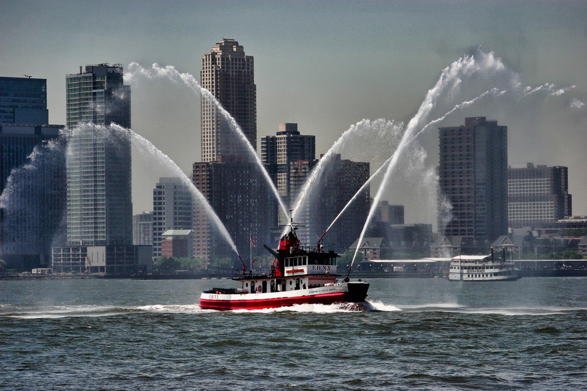 The water cannons of Fleet Week 2020