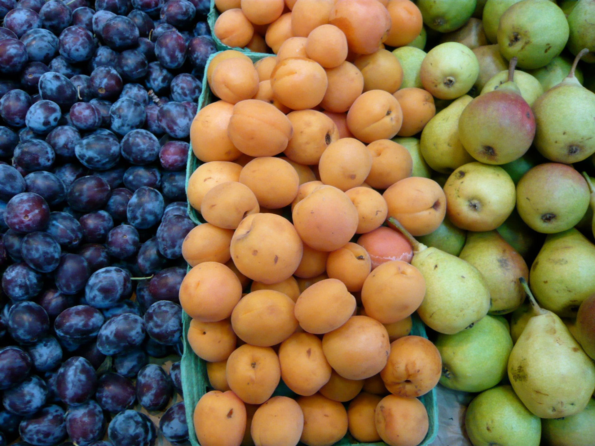 Plums, apricots, and pears at the Granville Island Public Market 2020