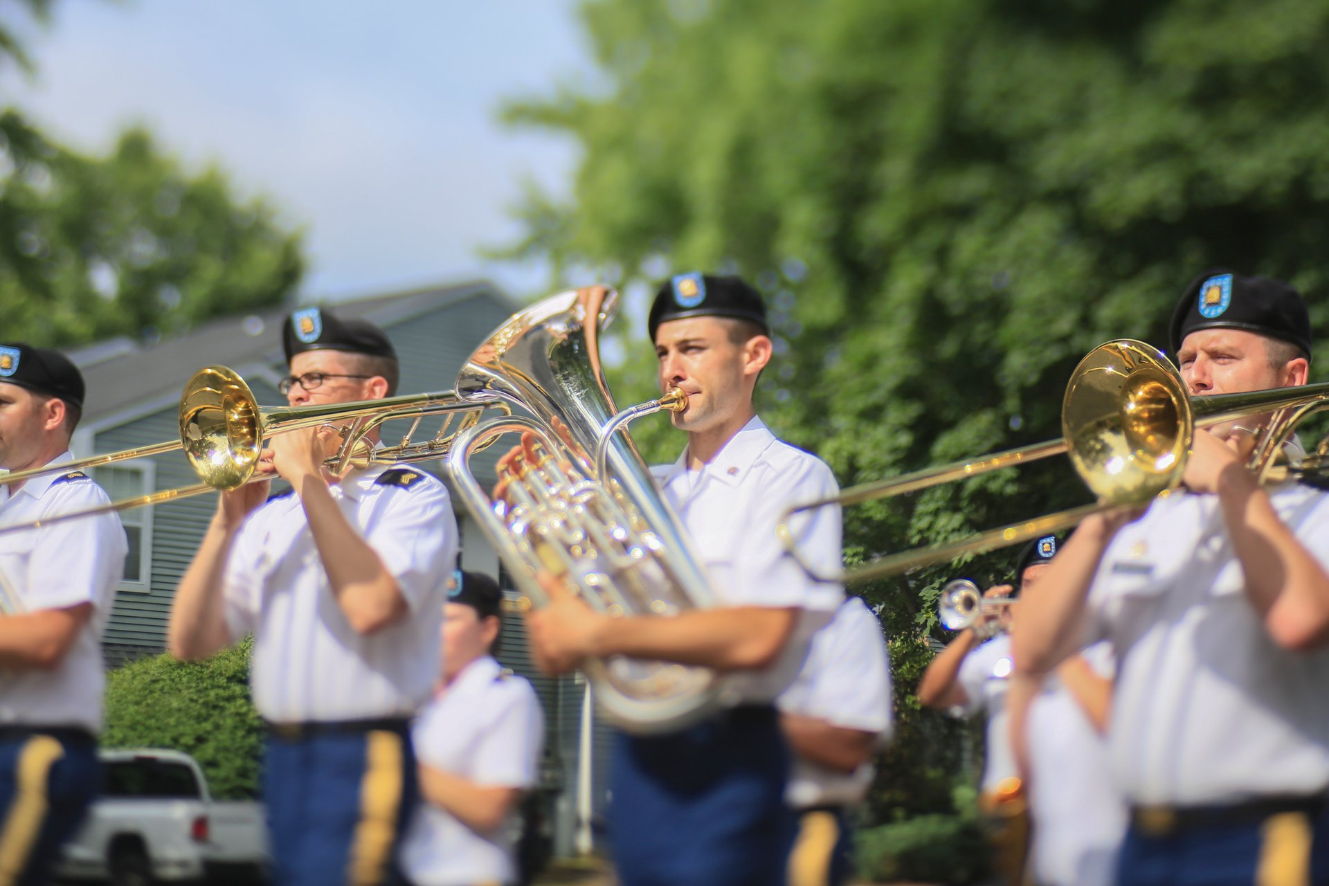 Soldiers from the New Jersey National Guard's 63rd Army Band perform in the Historic Smithville Fourth of July parade in Smithville 2020