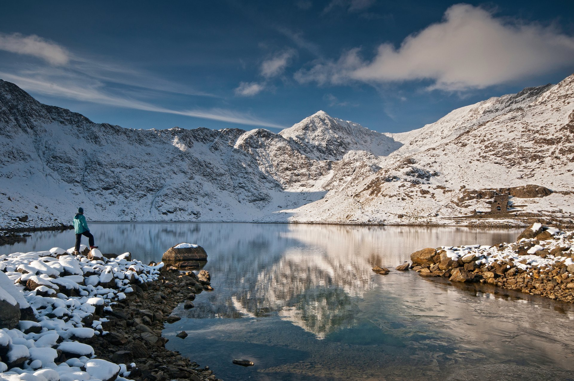 Walker looking towards snow-covered summit of Snowdon (Yr Wyddfa) from Llyn Llydaw lake 2020