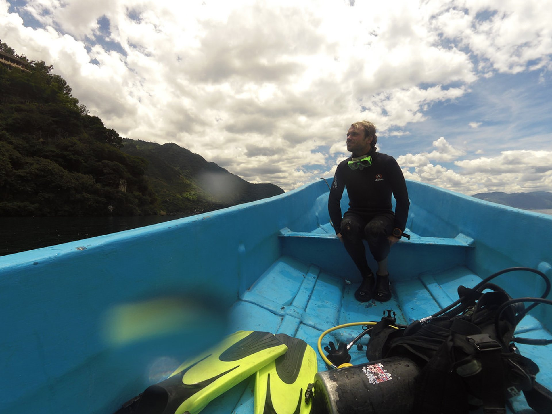 Heading to the diving spot on the Lake Atitlán 2020