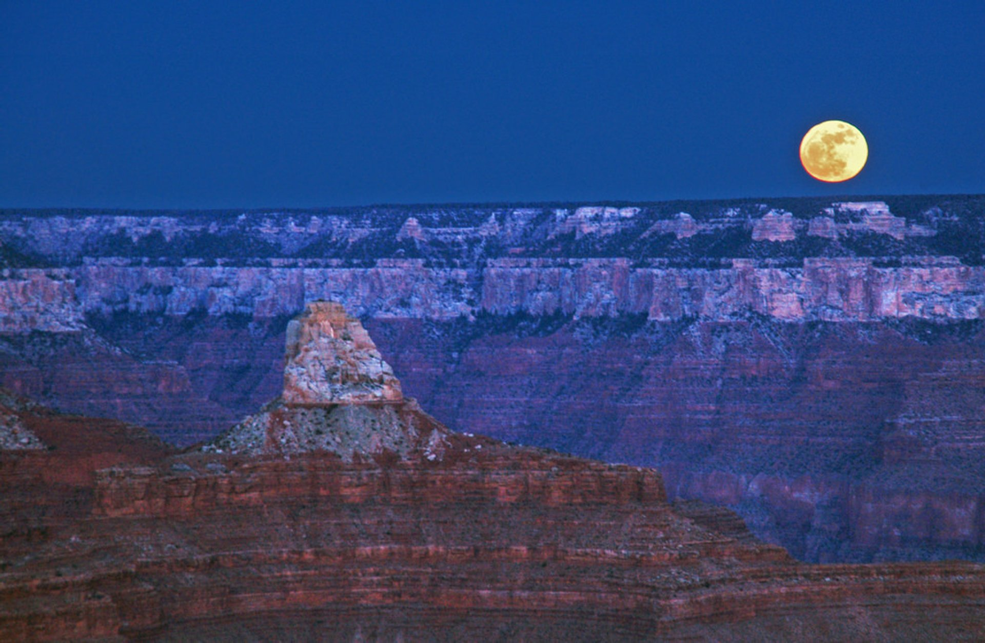 Super moon rising over Grand Canyon National Park in January