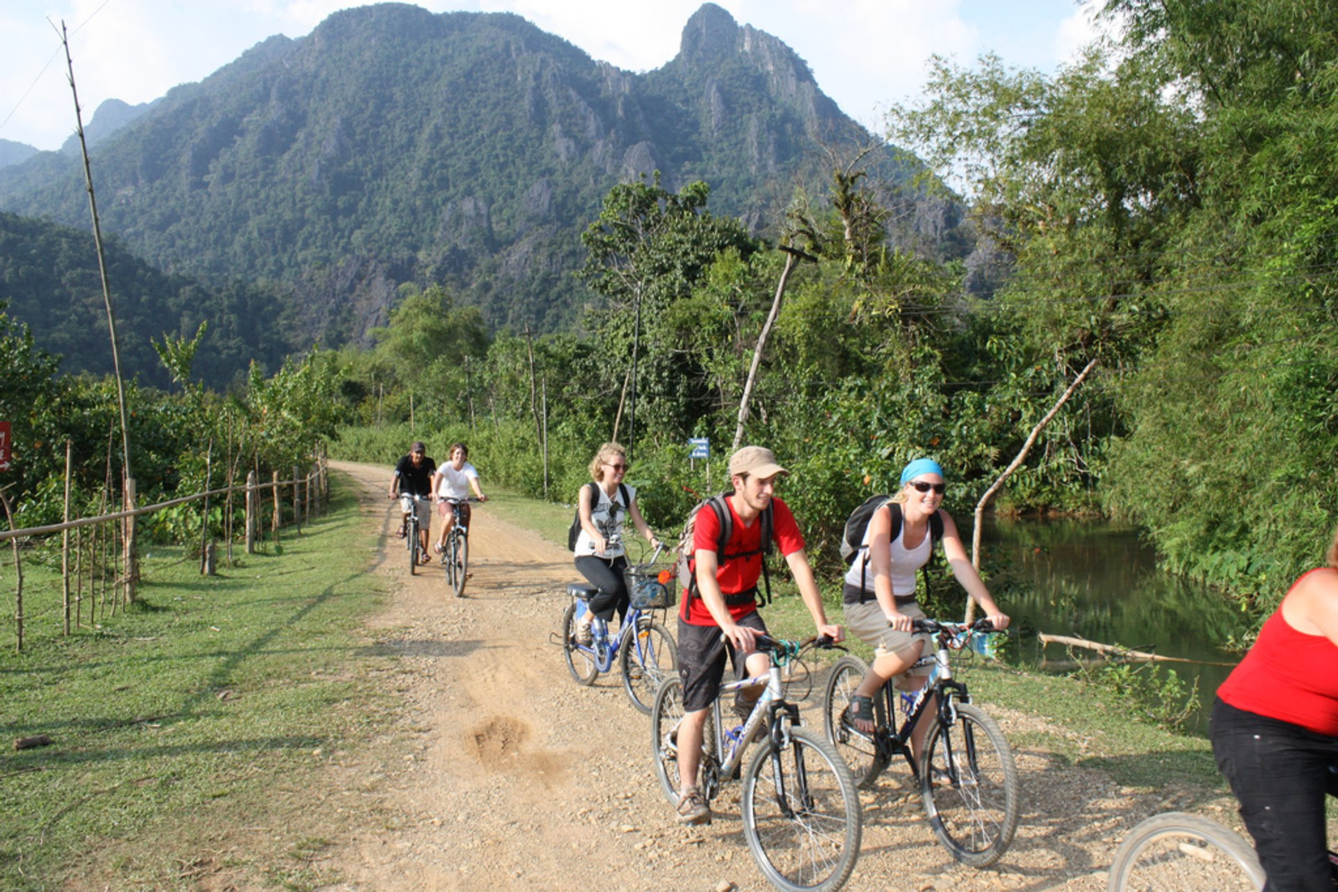 The Tour de Laos sets off on its afternoon stage back to Vang Vieng