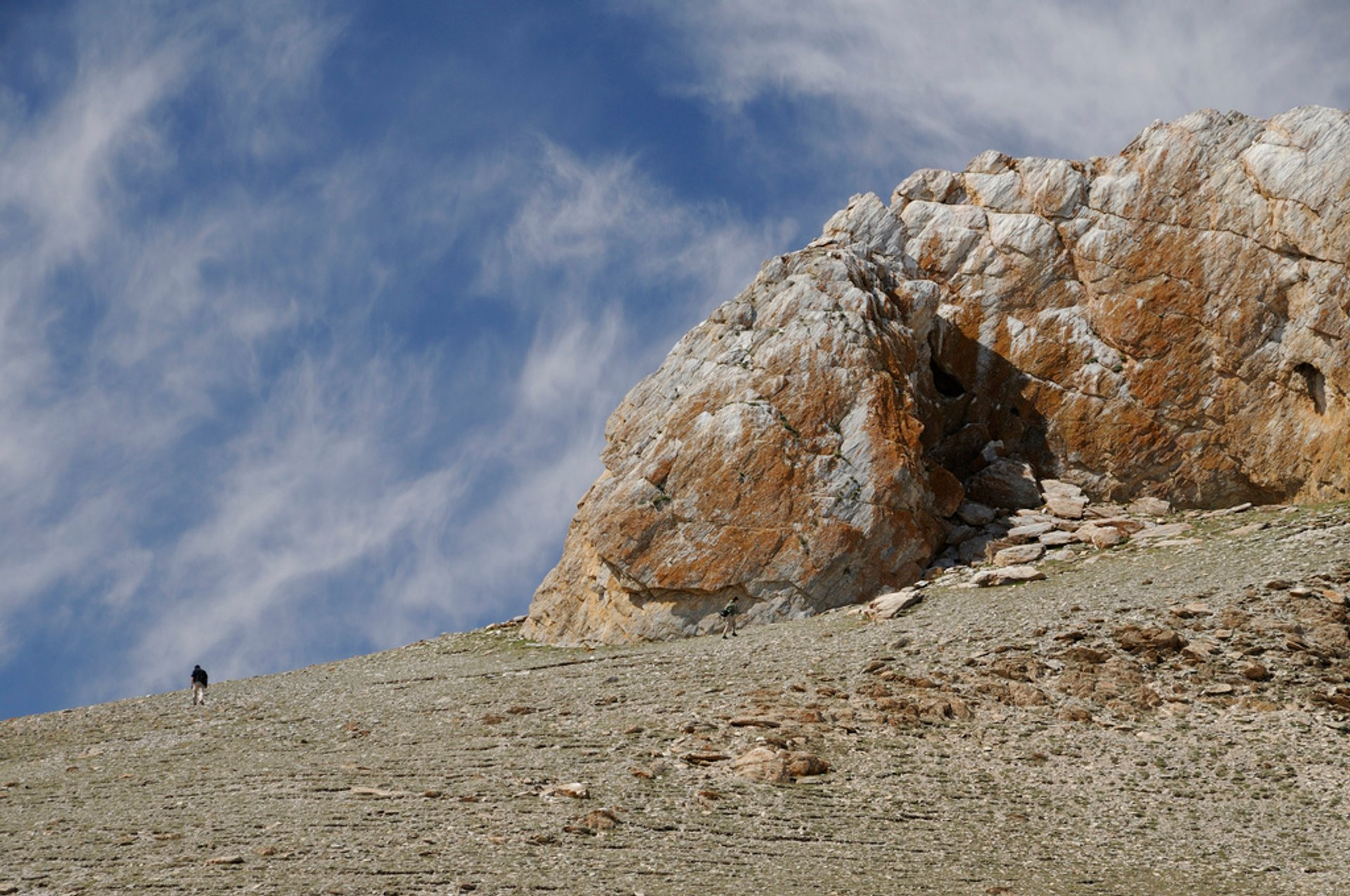 One of the limestone outcrops, but without caves. Govi-Altai, Mongolia.