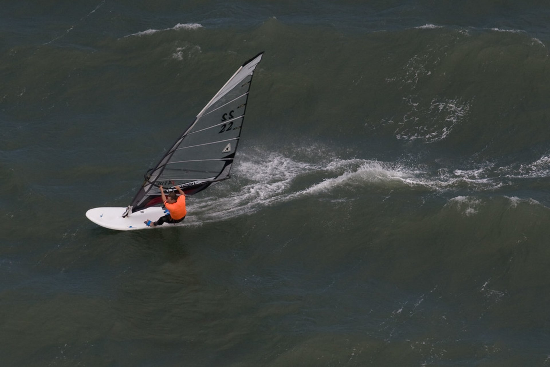 Windsurfing competitor on San Francisco Bay, viewed from the Golden Gate Bridge 2020