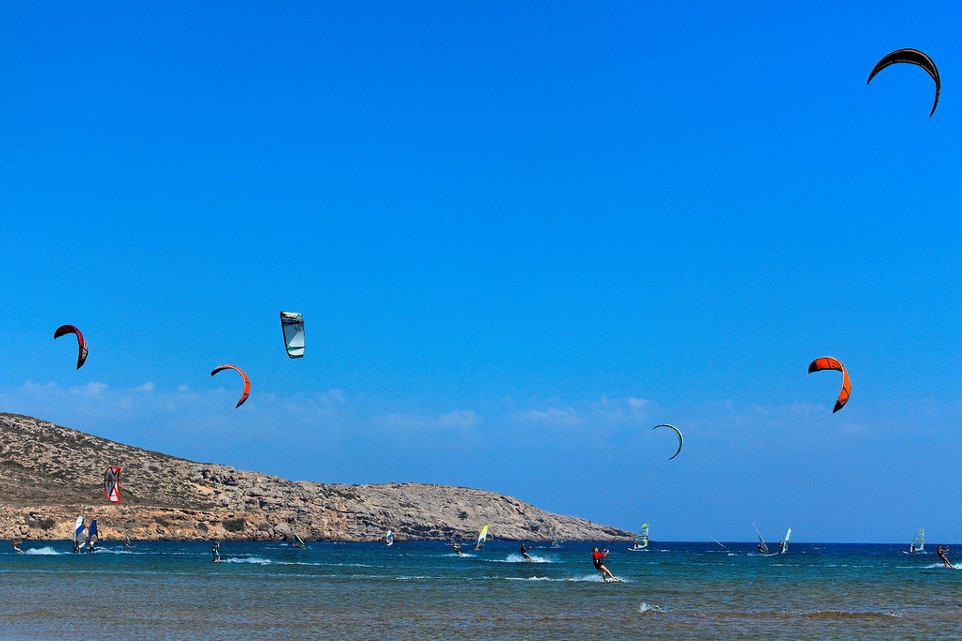 Kitesurfing by Prasonisi Cape, Rodos Island 2020