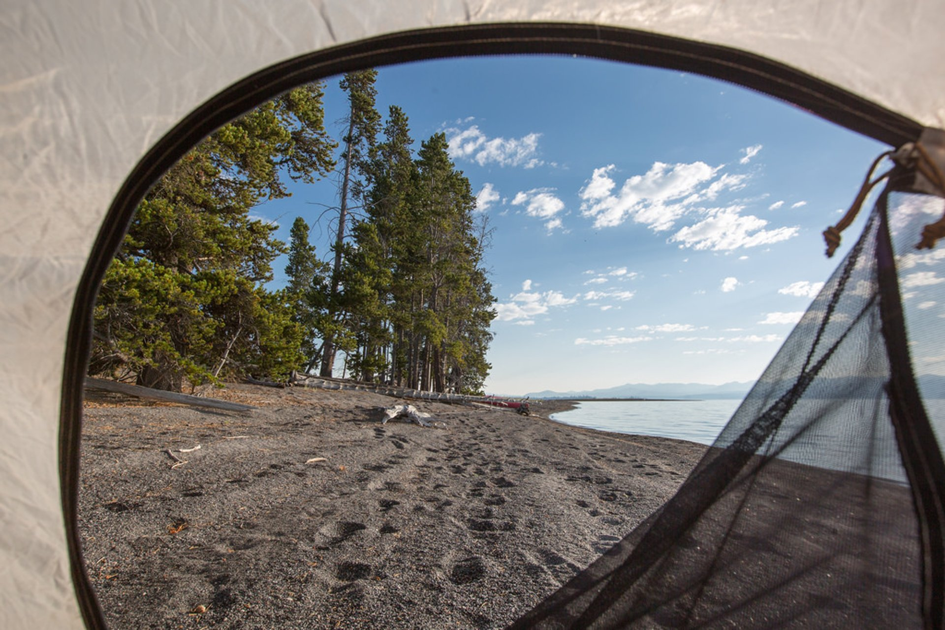 Waking up on the shore of Yellowstone Lake