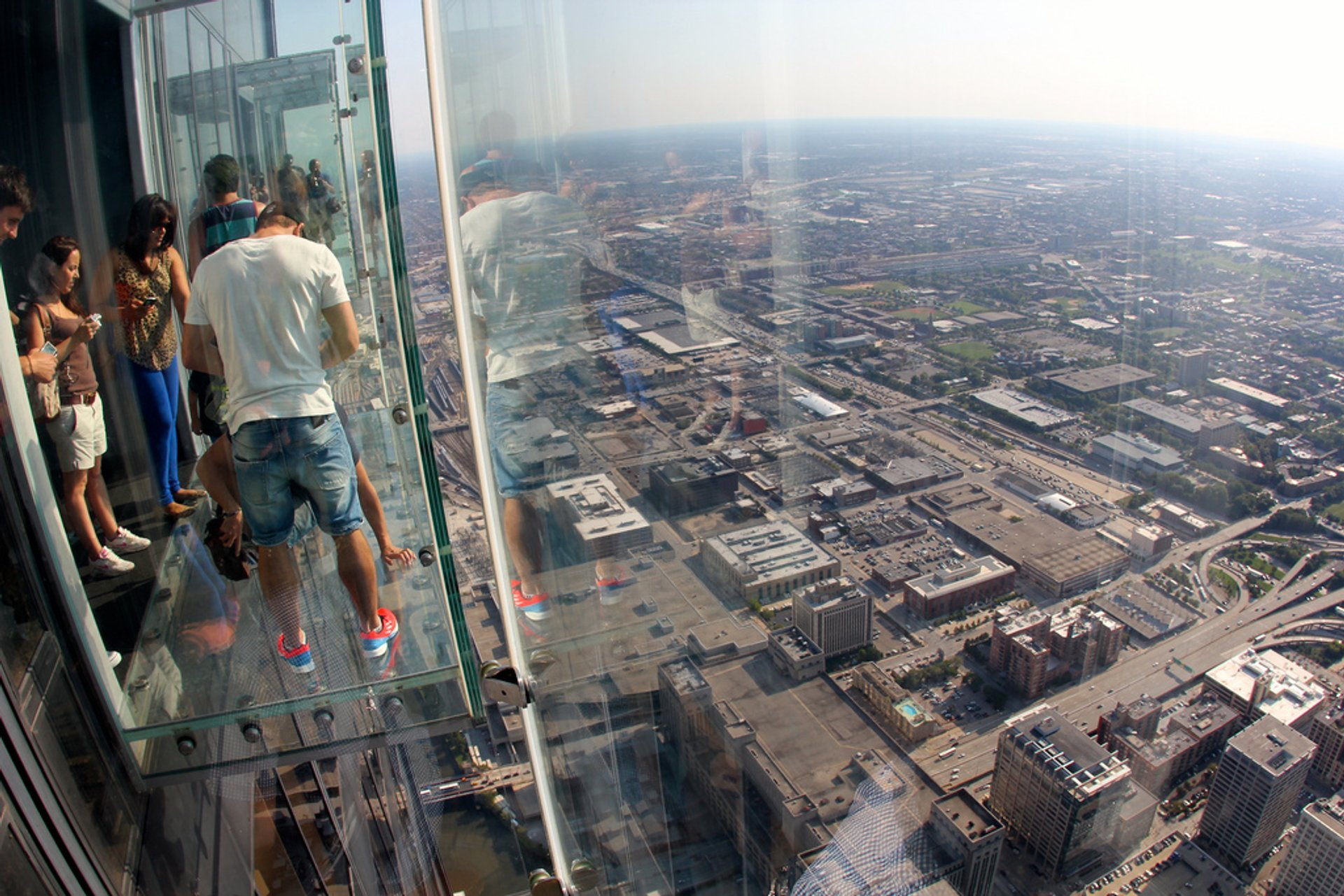 Looking out the glass balcony at the skydeck 2020