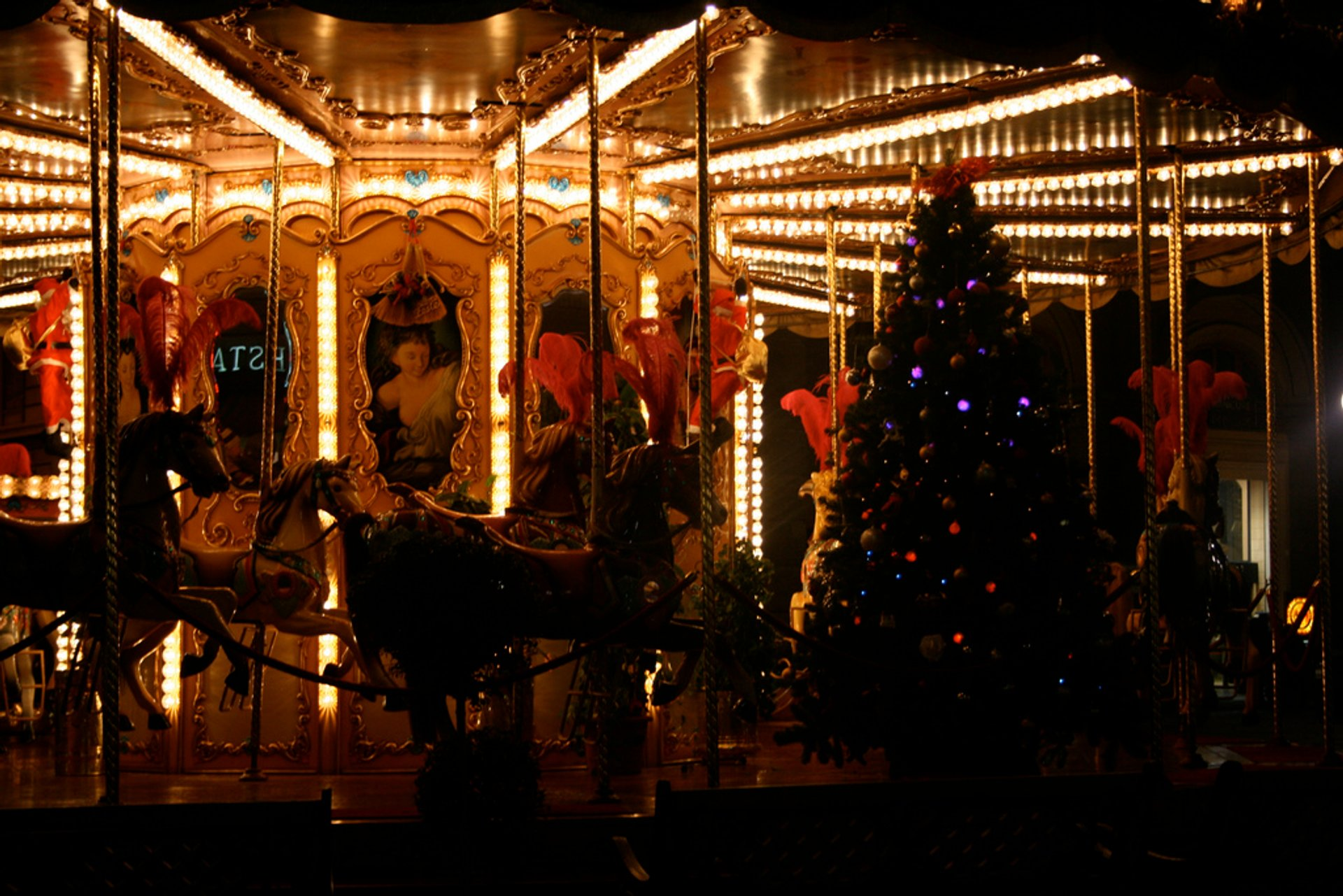 Piazza Repubblica Carousel at Christmas time, Florence, Italy 2020