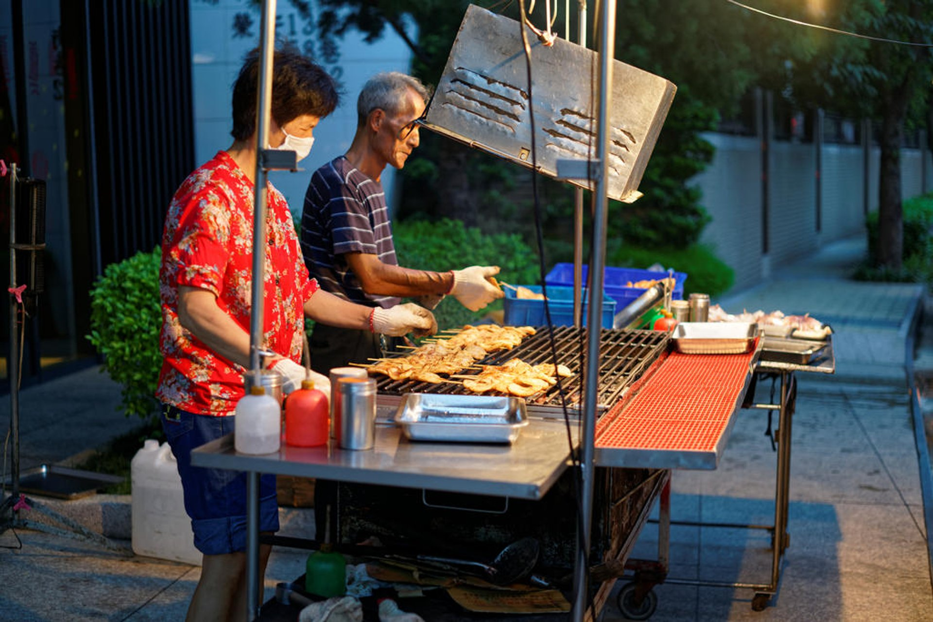 The barbeque on the street in Taoyuan, Taiwan 2020