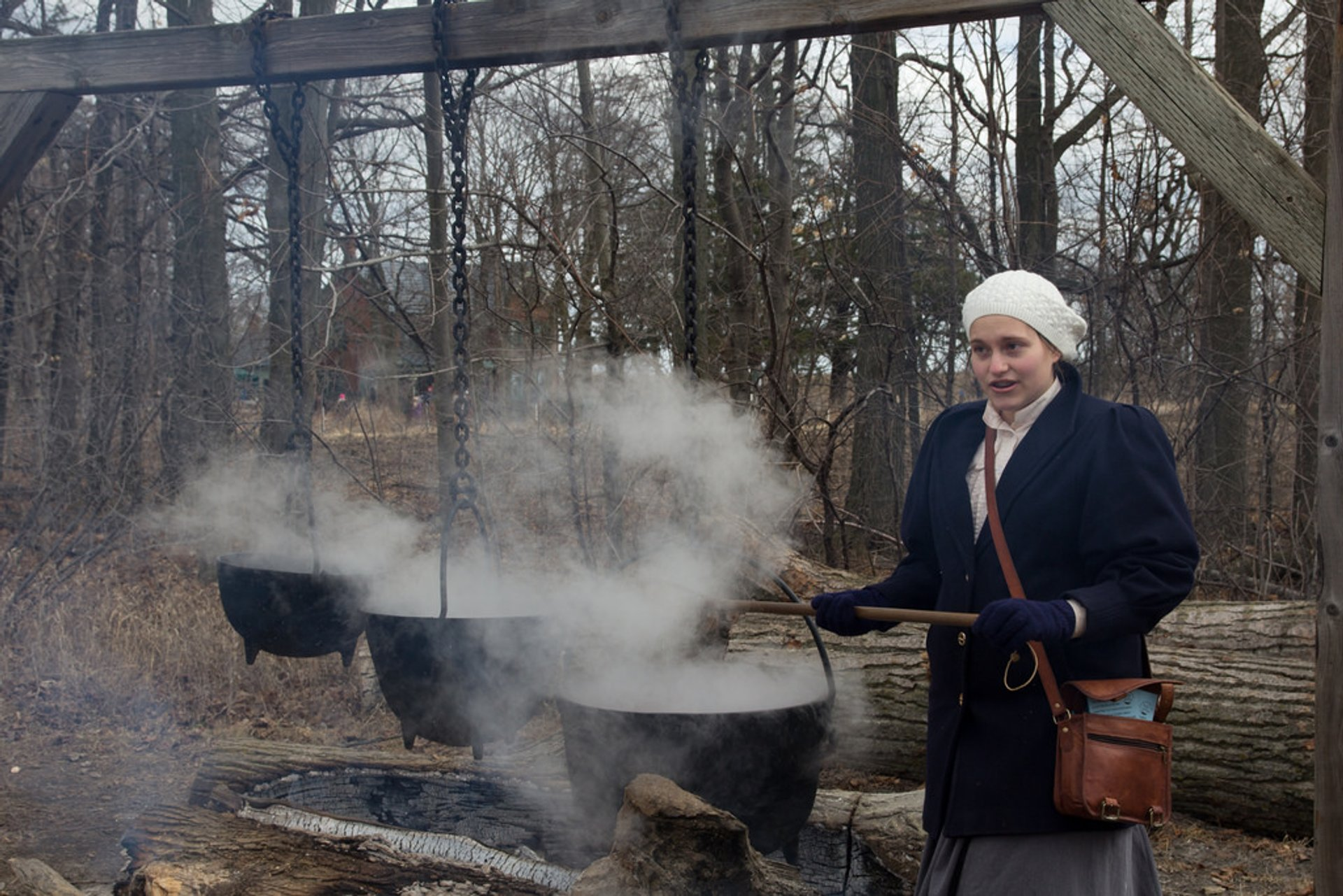 Cooking fresh maple syrup in Bronte Creek Maple Syrup Festival 2020