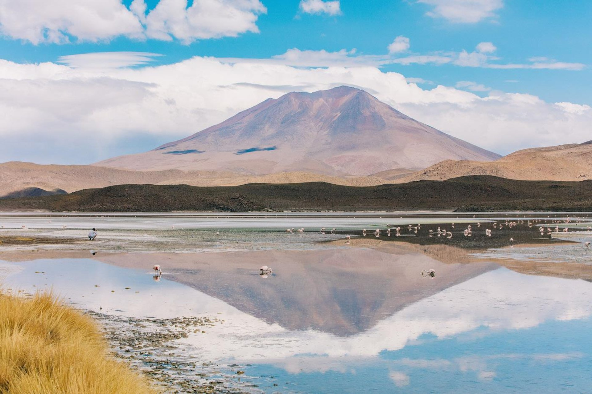 Lake at Salt Flats or Salar de Uyuni in Bolivia - Best Season