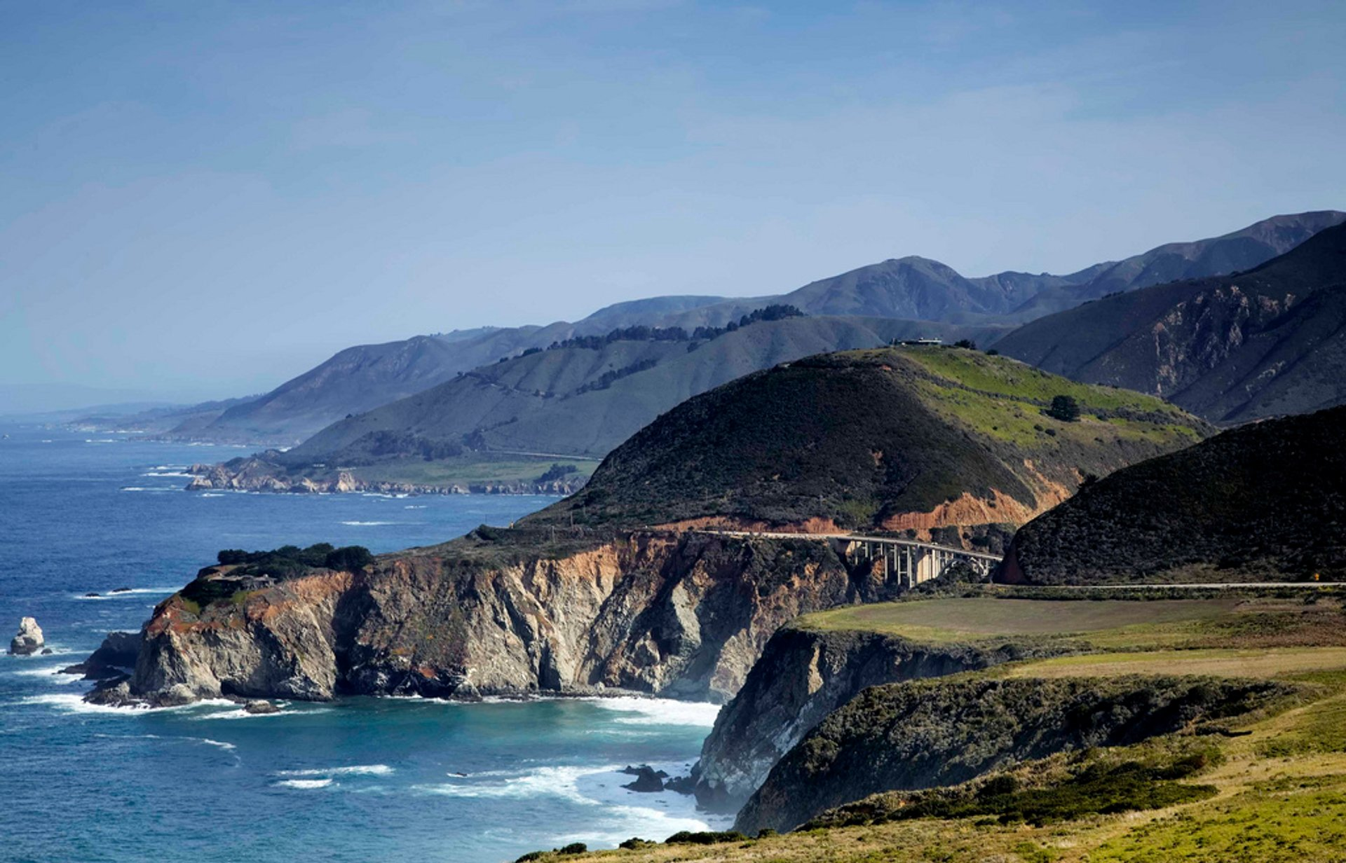Bixby Creek Bridge crosses over land to land