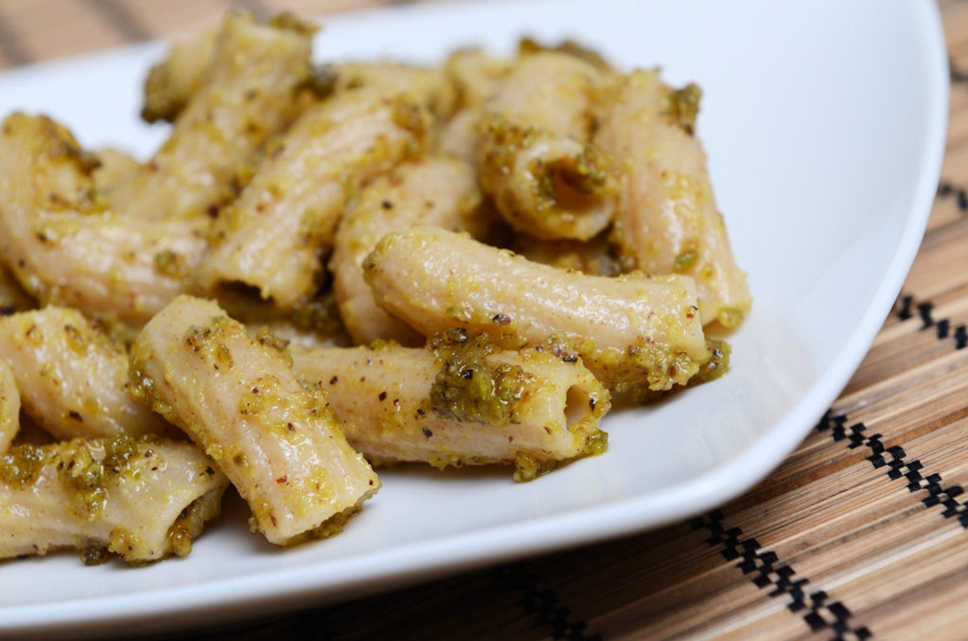Pasta with pesto of pistachio 2019