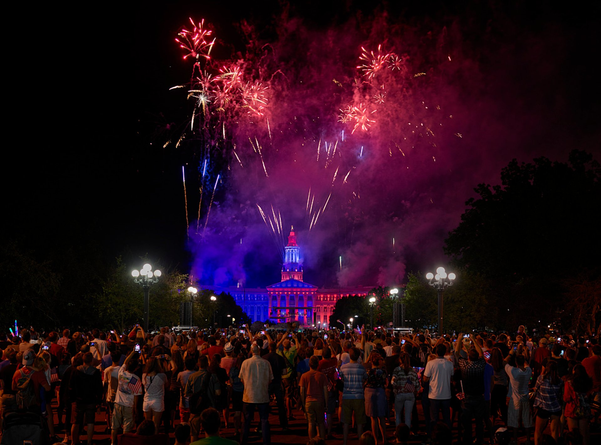 Fourth of July fireworks light up the sky over Civic Center, Downtown Denver, Colorado 2020