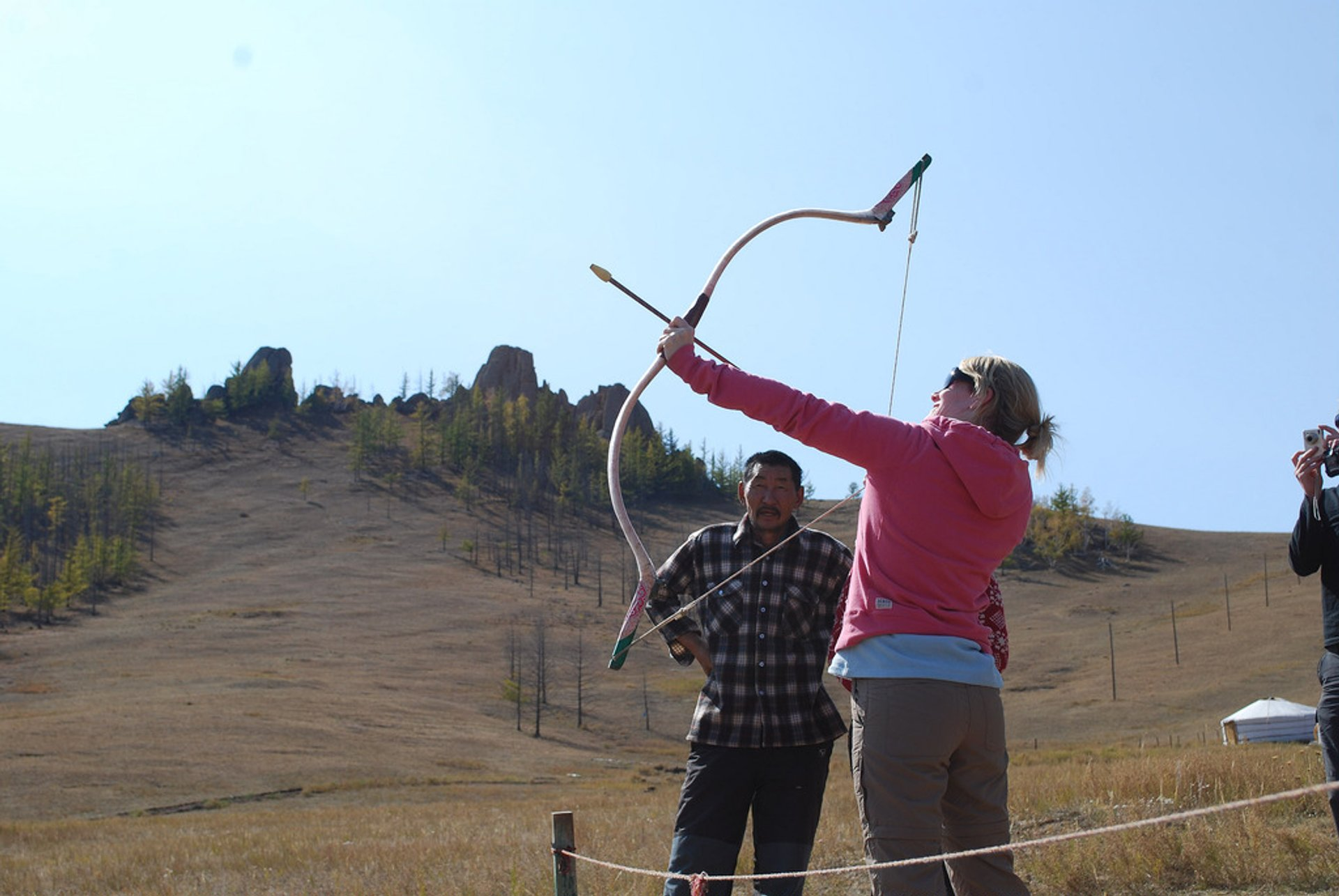 Archery lesson in ger camp 2020