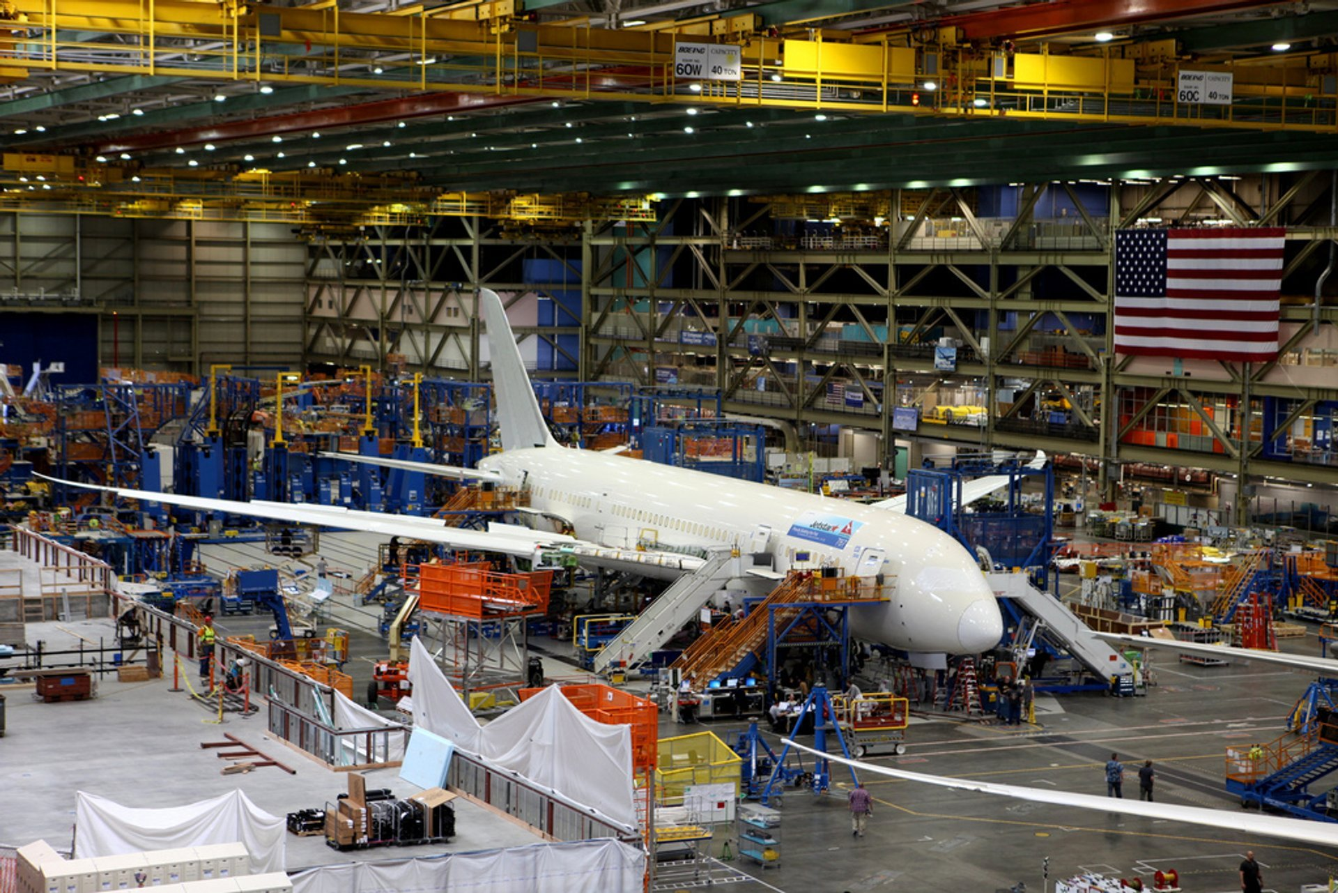 The first Australian registered Boeing 787 in final assembly in Seattle 2020