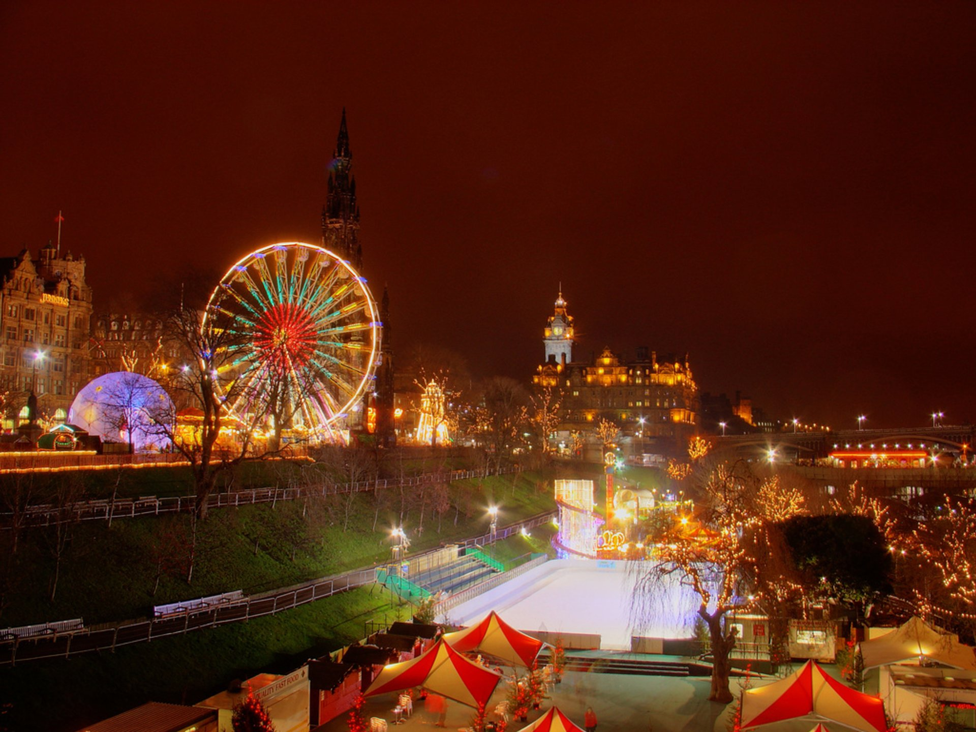 Christmas festivities in Edinburgh on the Boxing Day 2019