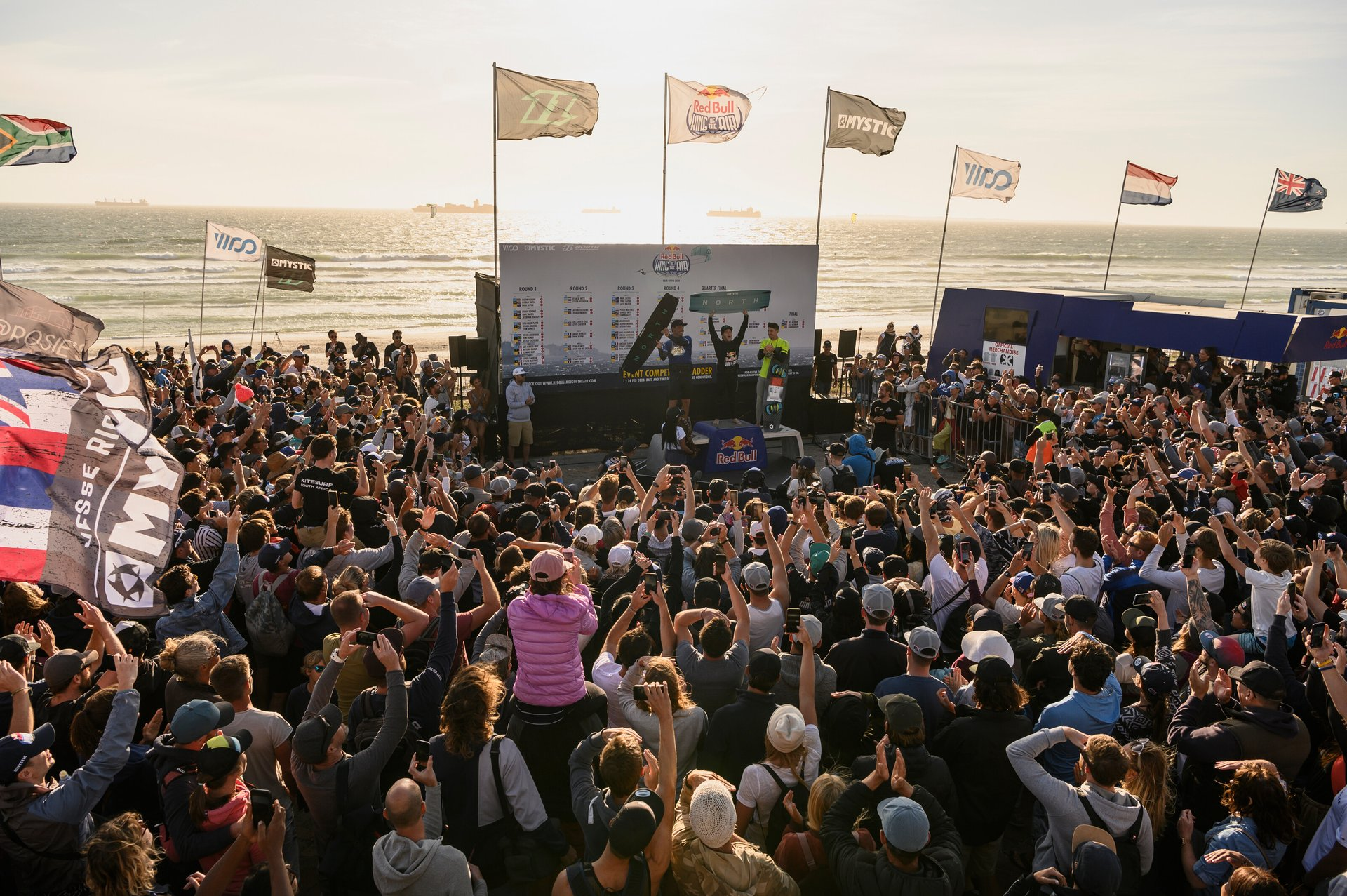Jesse Richman is seen on the podium at Red Bull King Of The Air in Cape Town, South Africa 2020
