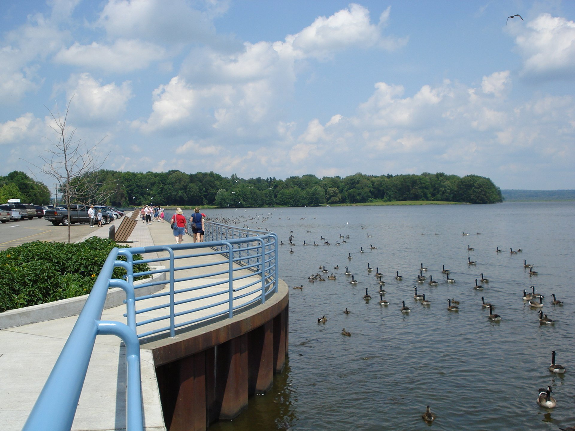 The Pymatuning Reservoir, a man made lake in Ohio and Pennsylvania, seen from the Linesville Spillway in Pennsylvania 2020