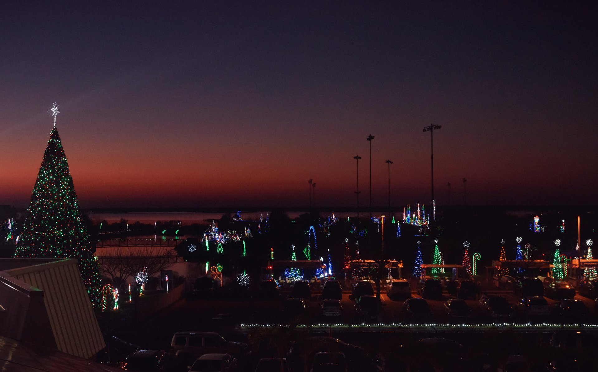 A bayside view over looking the annual Winterfest of Lights display at Northside Park 2020