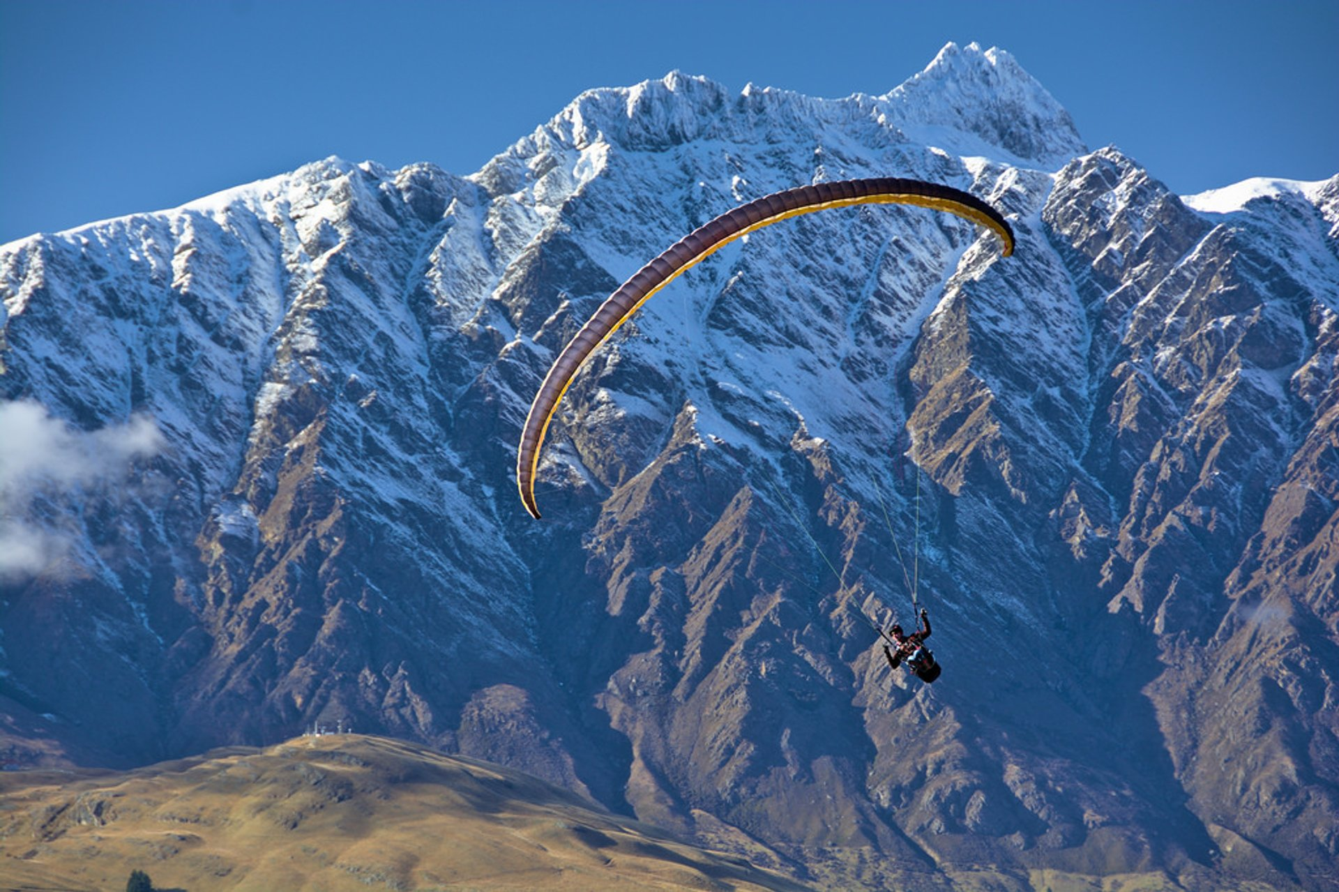 Paraglider with Queenstown Hill and Remarkables Double Cone 2020