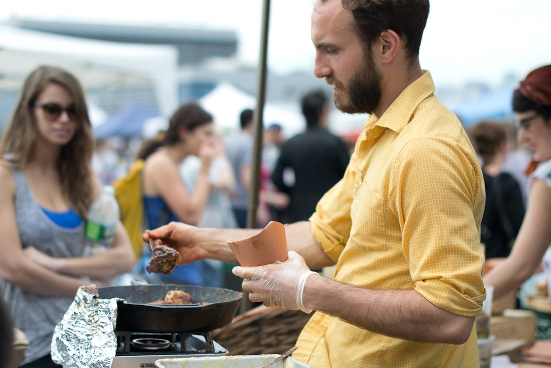 Cooking 'Hot Sticky Mess' at Brooklyn Flea, Williamsburg 2020