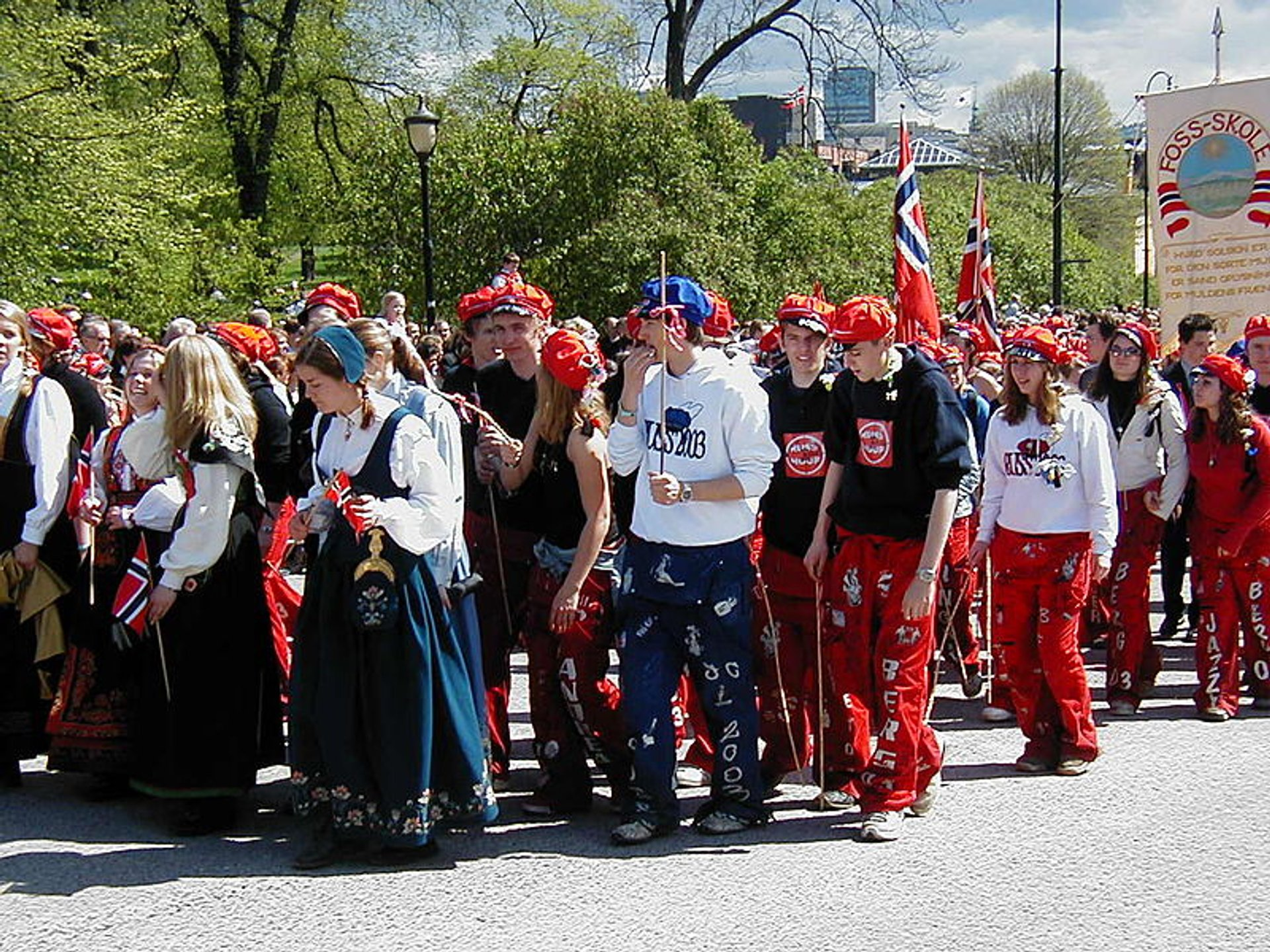 Russefeiring procession in Oslo, Norway 2020