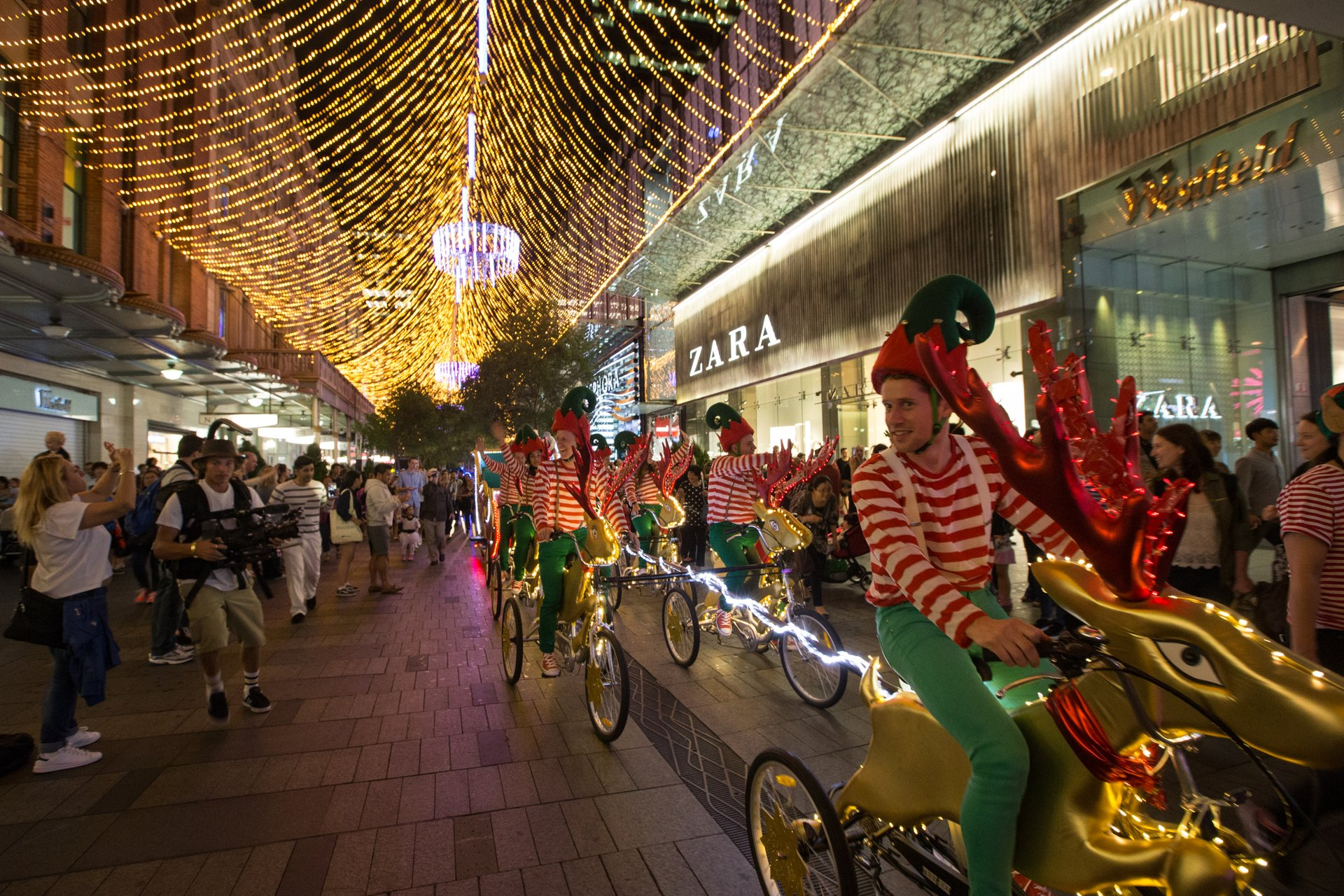 A cycle-powered sleigh in Pitt Street Mall 2020
