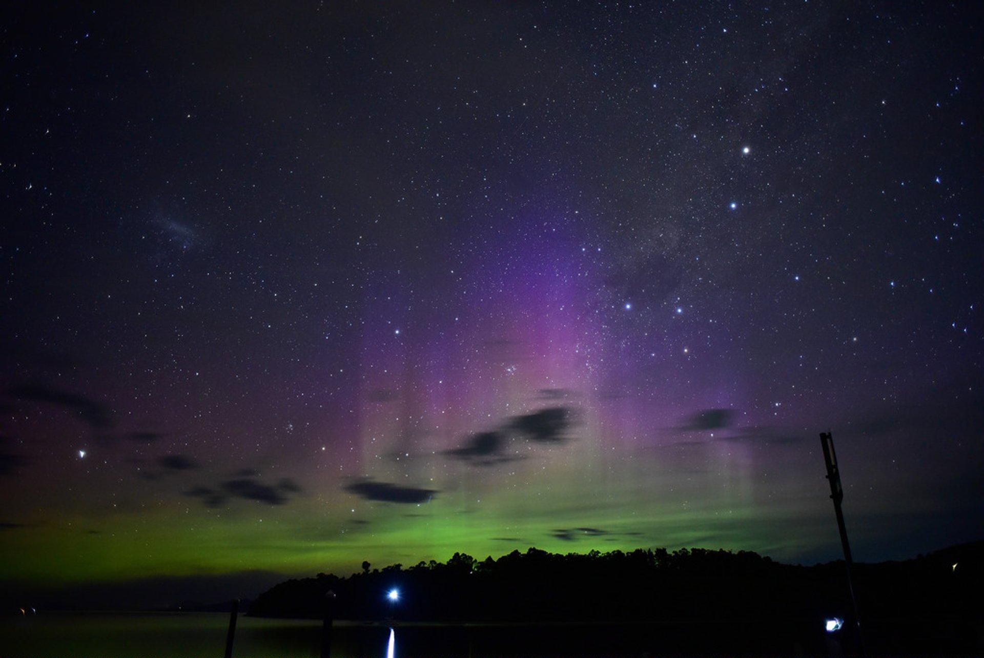 Aurora australis over Hobart, Tasmania 2020