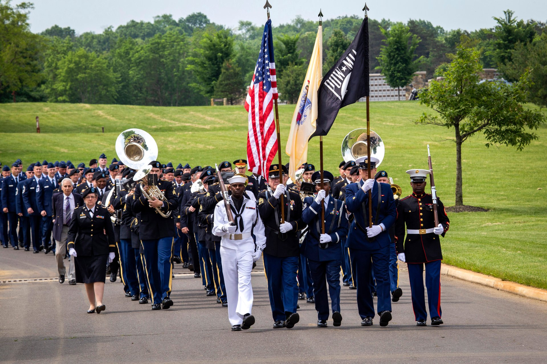 Members of the Brigadier General William C. Doyle Veterans Memorial Cemetery Joint Color Guard lead the parade at the start of the state Memorial Day ceremony at the Brigadier General William C. Doyle Veterans Memorial Cemetery, Wrightstown 2020