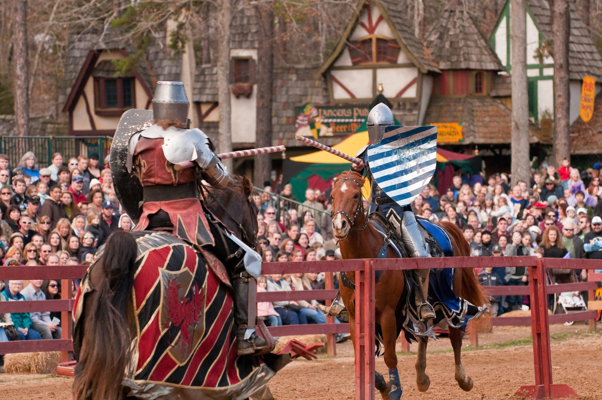 Jousting knights on horseback 2020