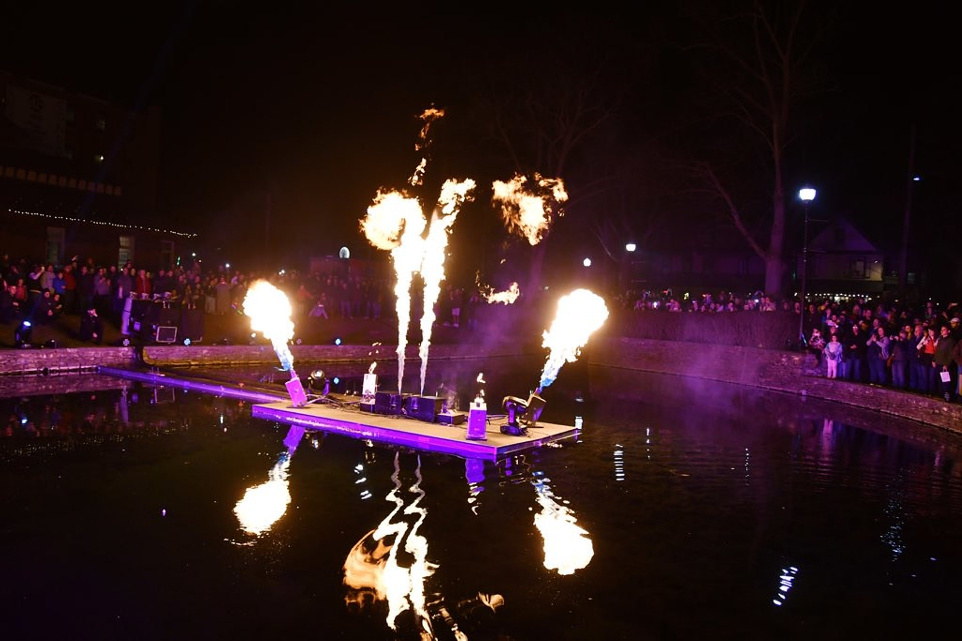 The fire show at Duck Pond in Lititz Springs Park 2020
