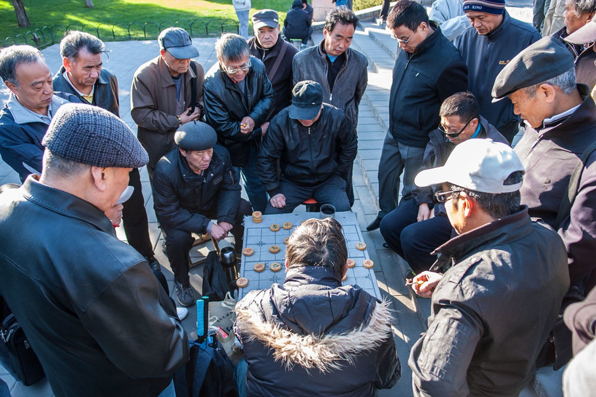 Local people are playing chess in the Temple of Heaven 2020