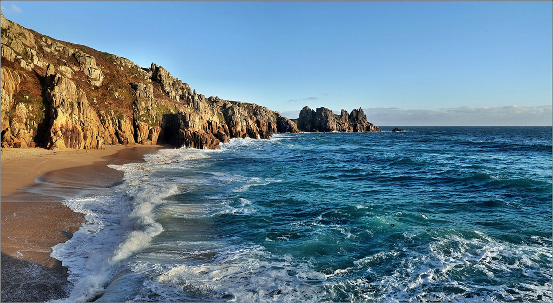 Porthcurno Beach in Cornwall 2020