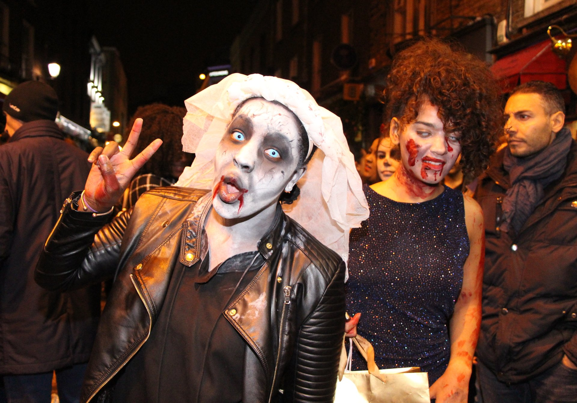 Halloween night in the streets of Dublin 2020