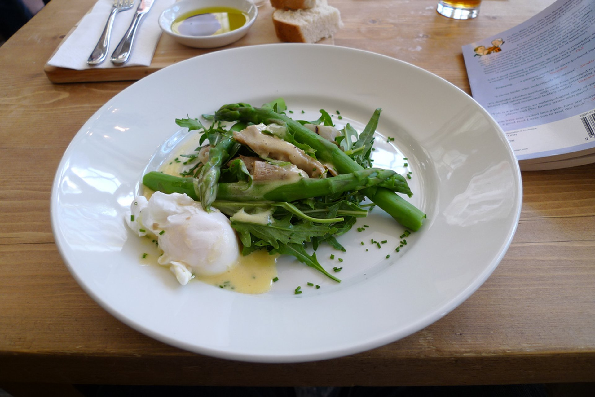 A very tasty salad with plenty of stuff happening: rocket with oyster mushrooms, artichoke hearts and asparagus, and then poached egg with hollandaise on the side 2020