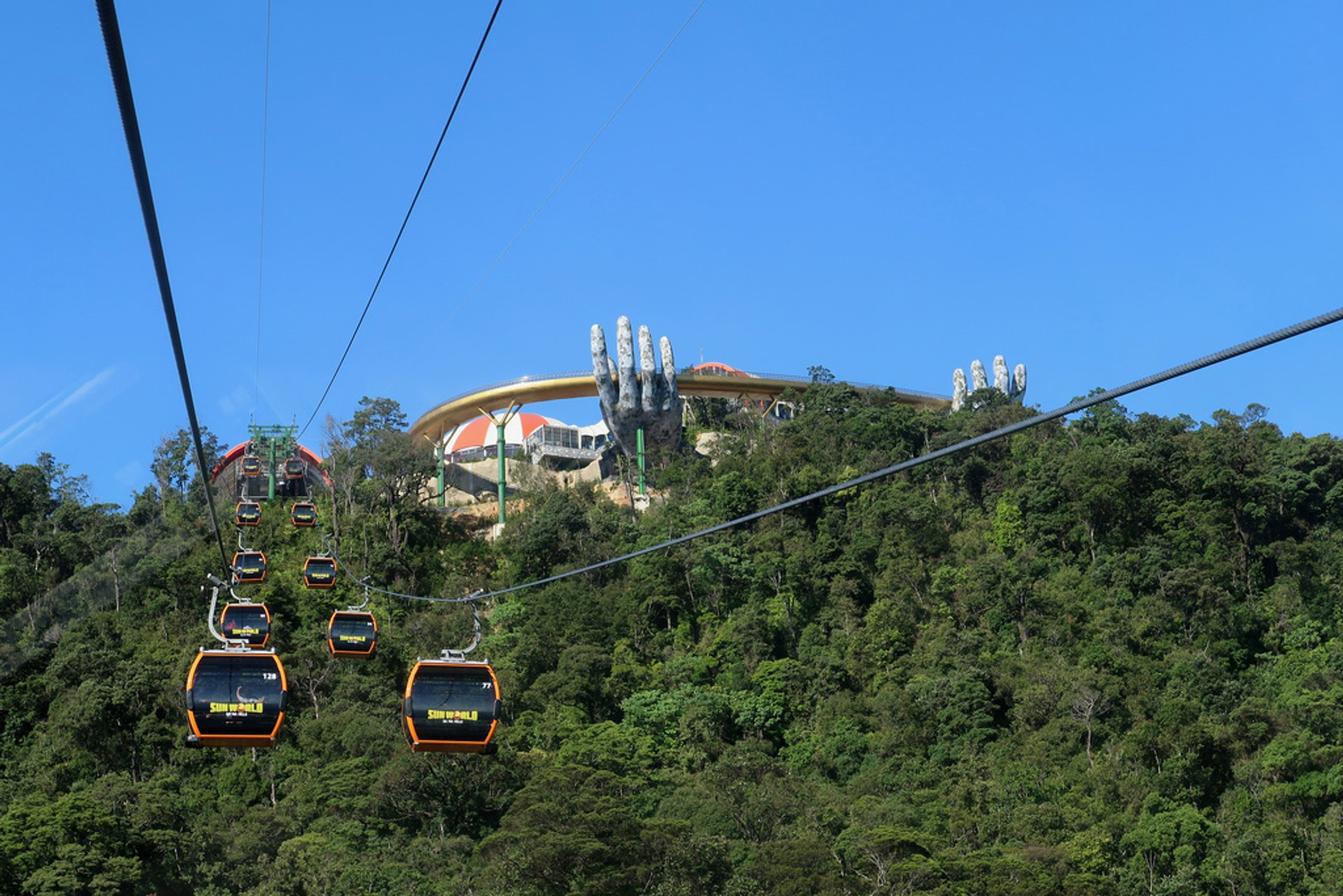 Cable ride up to Ba Na Hills. Some 20 minute peaceful cable ride. 2020