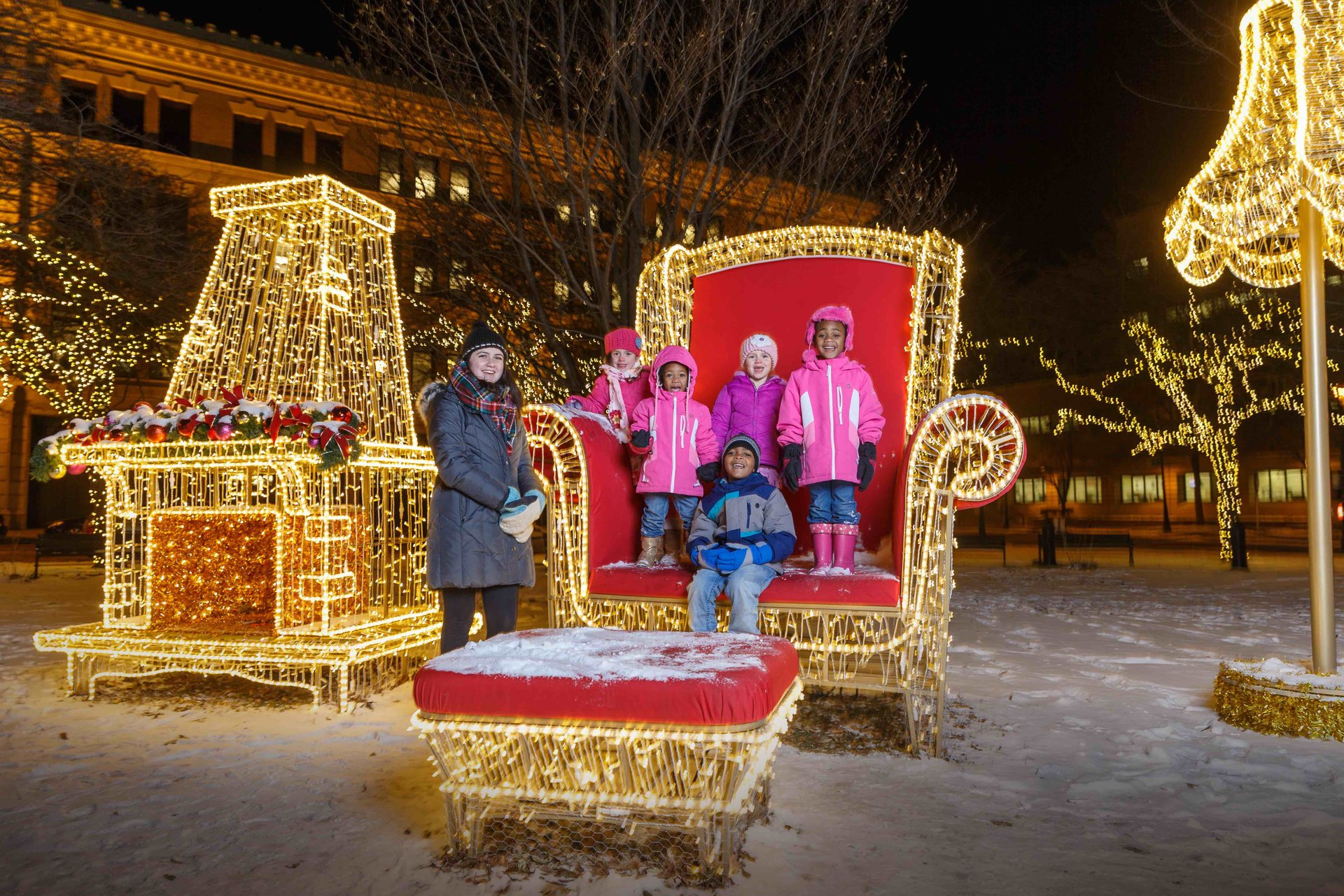 Zeidler Union Square is one of three parks decorated for the Milwaukee Holiday Lights Festival. 2020