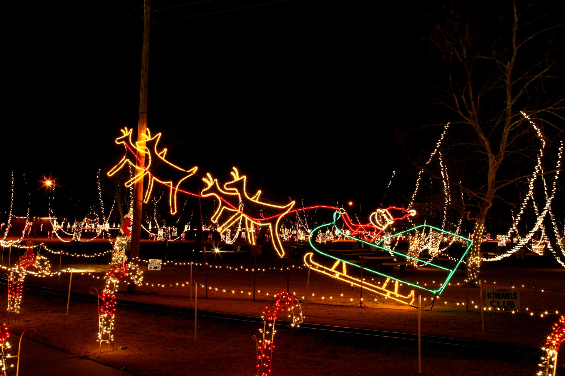 Santa & Sleigh light display at Crystal Christmas in Woodward 2020