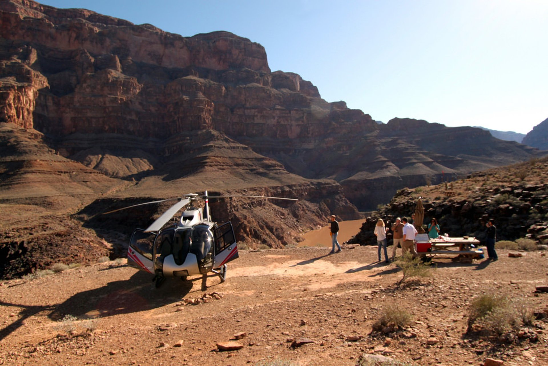 Private landing area & picnic table at West Grand Canyon, Arizona 2019
