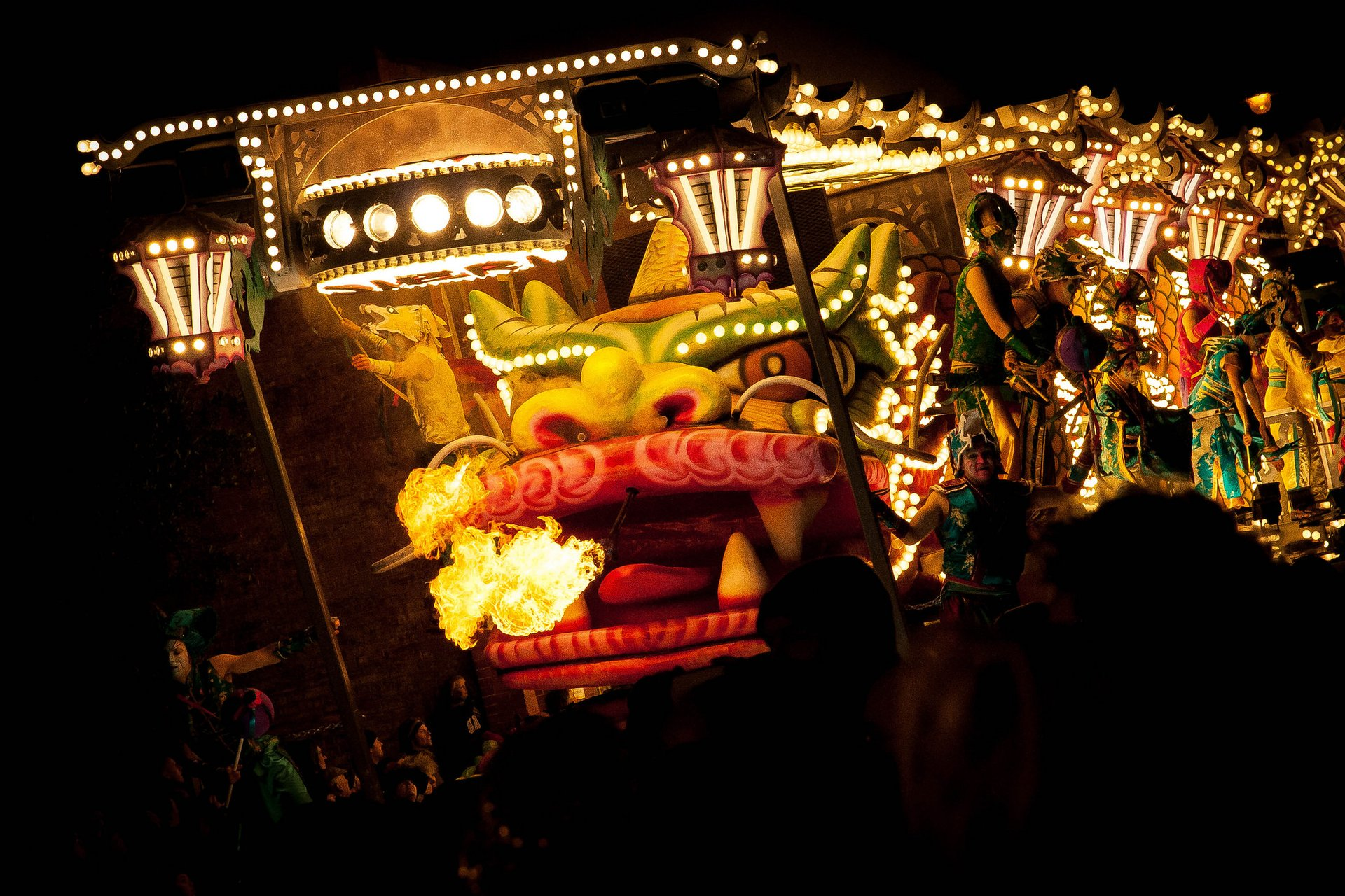 Dragon of the Carnival. One of the impressive floats at Glastonbury Carnival 2020