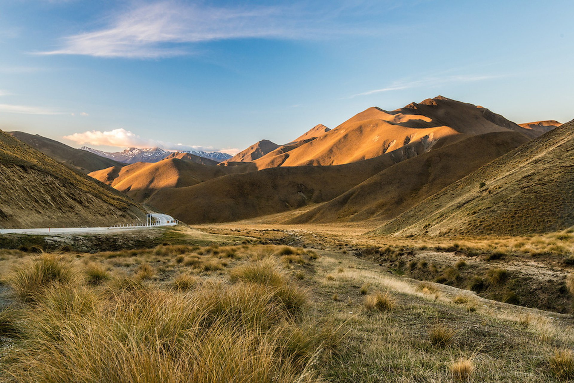Lindis Pass at sunset, Central Otago
