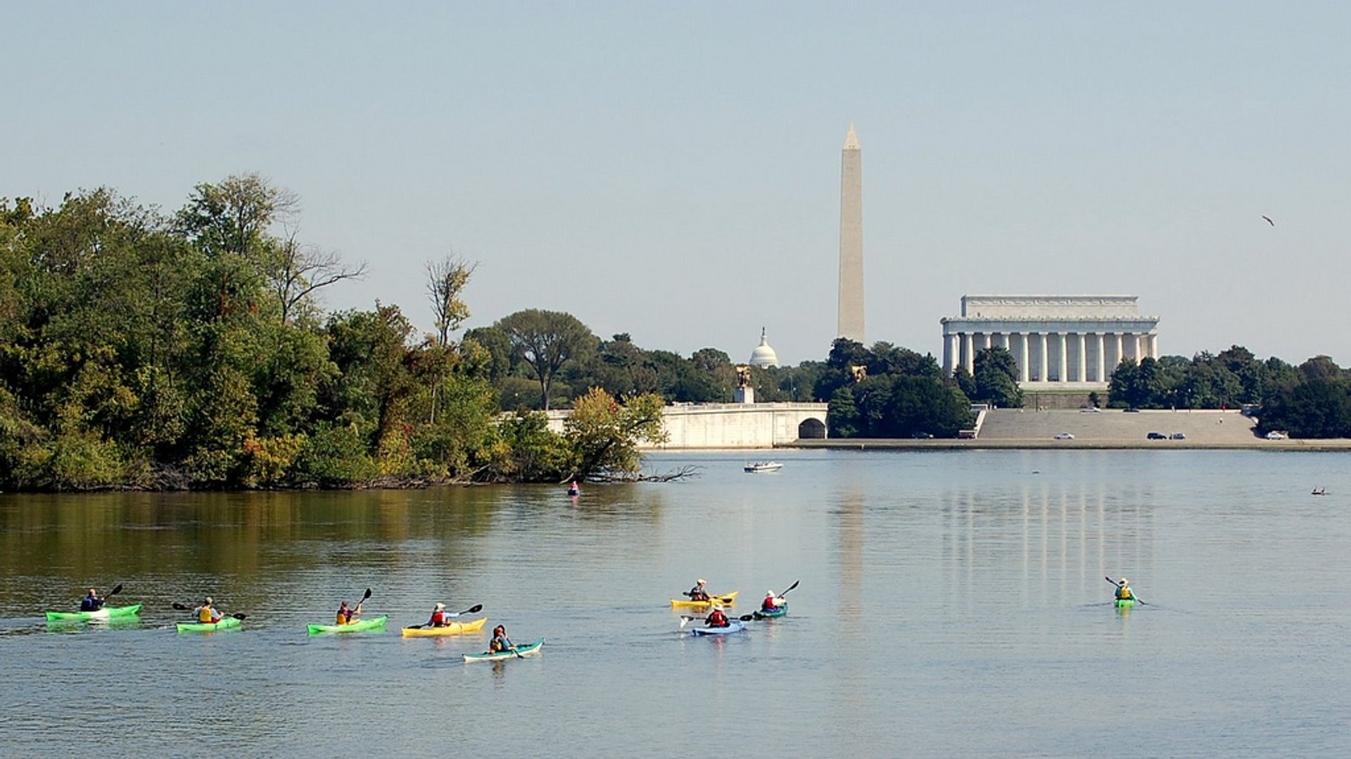 Kayakers enjoy a great view of the capital from the Potomac River on an early October day, 2008. 2020