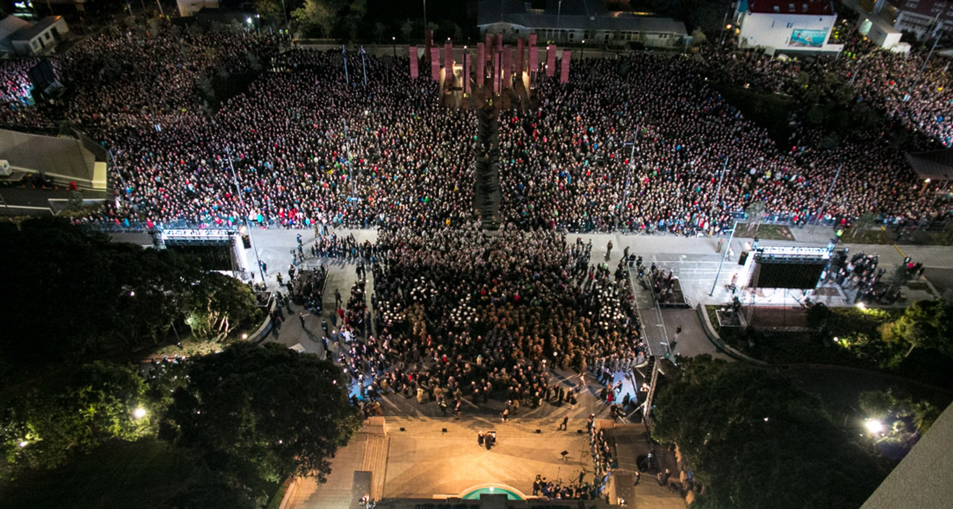 View of the 50,000 crowd that attended the Dawn Service 2020