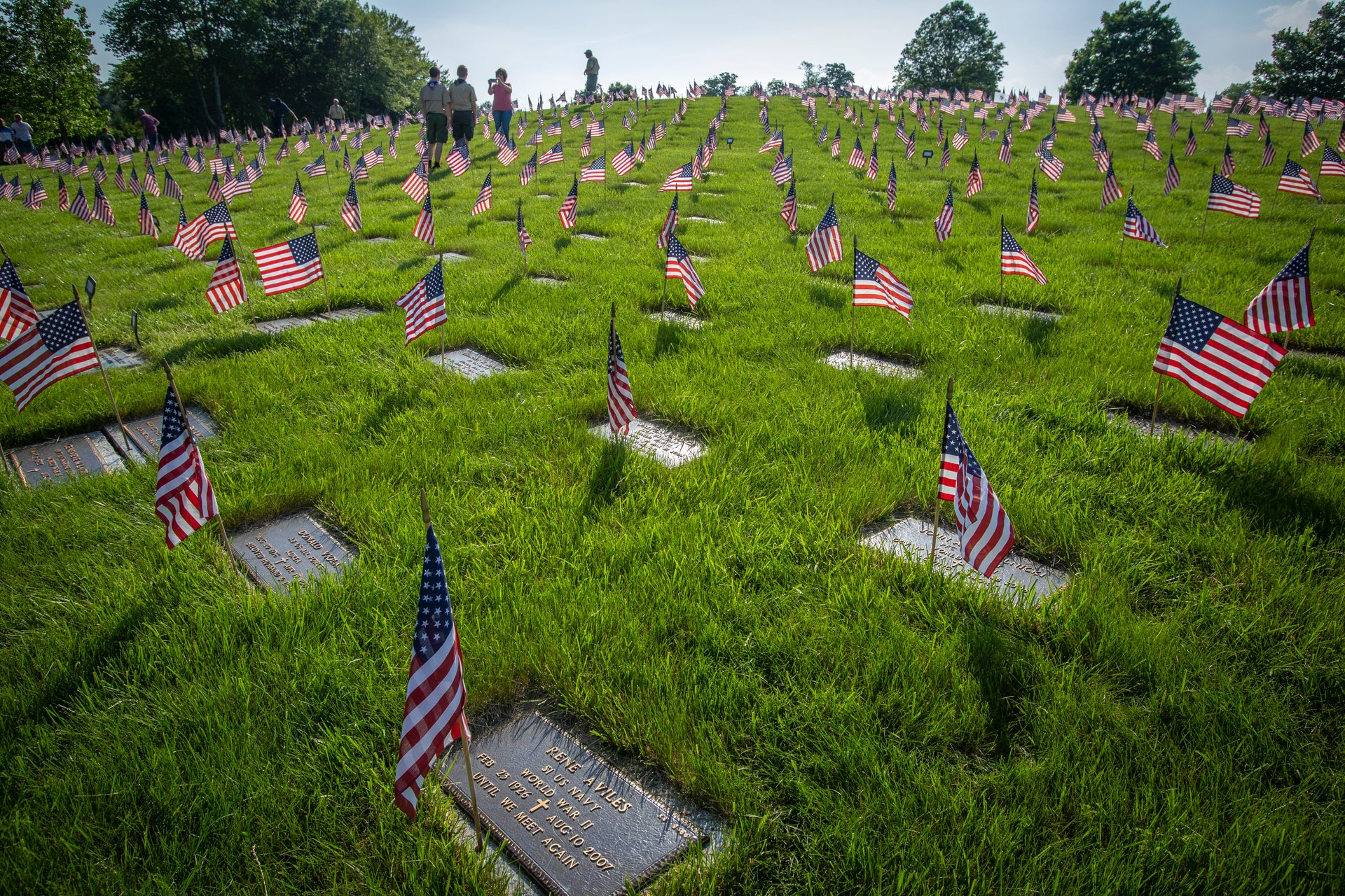 Nearly 60,000 American flags were placed on the graves by more than 1,900 New Jersey Boy Scouts, Girl Scouts, Cub Scouts, and Brownies at the Brigadier General William C. Doyle Memorial Cemetery at North Hanover Township, N.J., May 25, 2018. The flag placement ceremony takes place the day before the state Memorial Day ceremony at the Cemetery.  2020