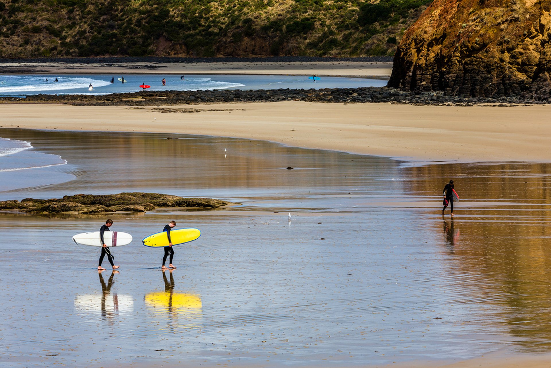 Retiring surfers down at Smiths Beach, Phillip Island, last Summer 2020