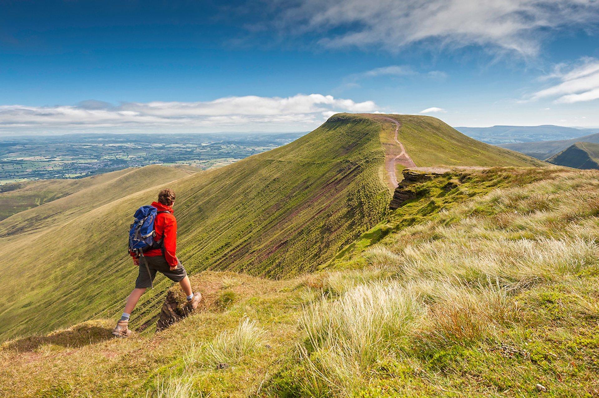 Waling near Corn Du summit looking over to Pen y Fan, Brecon Beacons 2020