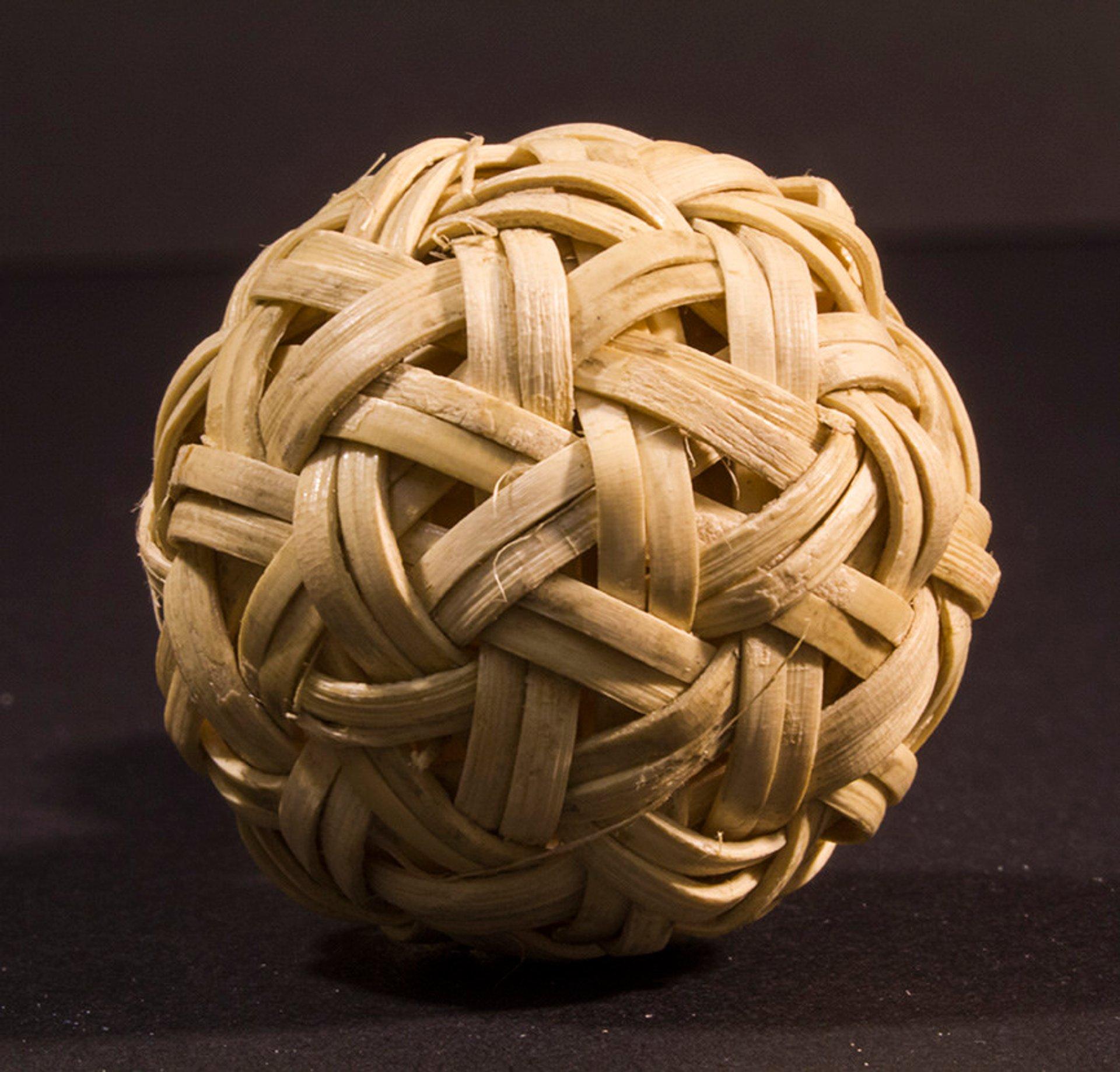 Miniature woven rattan ball bought at Scott Market, Yangon, 2.5 cm diameter